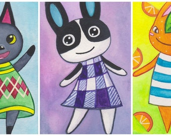 Animal Crossing Watercolor - Tangy, Kiki, Dotty. Cute Animal Crossing Bunny Rabbit / Cat Art / Painting. ATC / ACEO / Artist Trading Card.