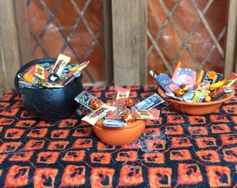Halloween Miniature Bowls of Candy for your Dollhouse along with a Tray of Cookies and Candy Apples