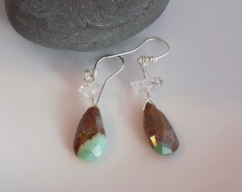 Chrysoprase Diamond Quartz Sterling Silver Wire Earrings Green Brown Faceted Drops Quartz Points Wire Wrapped Jewelry Handmade Green Brown