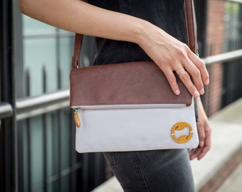 vegan crossbody bag, canvas purse, birthday gift for her, foldover bag, purse for travel, small womens bag, canvas bag