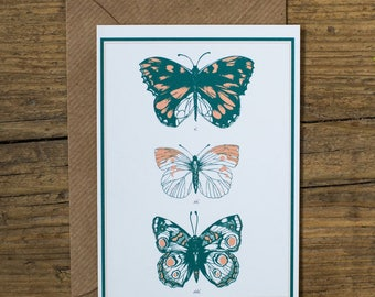 Illustrated Butterflies Natural History Greetings Card