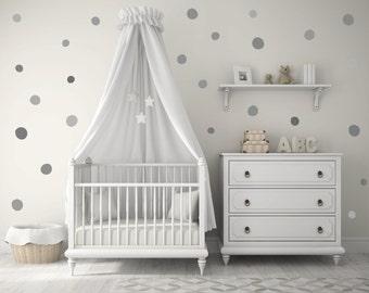 NEW!! Baby Nursery Wall Decals, Gray, Grey, Polka dots, Baby Nursery Wall Decal Kids Wall Decal Modern Nursery Wall Decal, Children room art