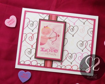 Handmade Cupid Love Struck Valentines Card