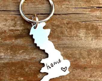 ANY STATE, UK with Custom Phrase - Long Distance Relationship Keychain