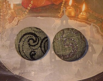 GRAY BLACK BAROQUE STYLE BUTTONS AND SILVER GLITTER