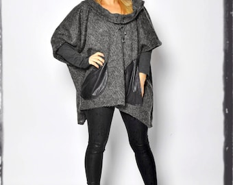 Dark gray wool tunic Extravagant long sleeves Hooded Tunic/Pockets/Casual Maxi plus size winter tunic/Wool Oversize handmade tunic/T1504