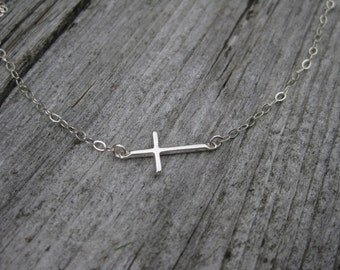 Horizontal Cross Necklace Sterling Silver Christian Jewelry Cross Jewelry Communion Jewelry Confirmation Gift Communion Gift
