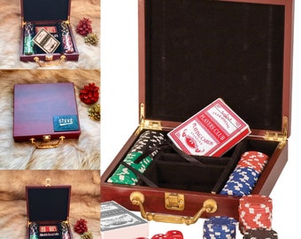 Personalized 100 Chip POKER SET in Rosewood Case with Playing Cards & Dice, Custom Engraved Case, Poker Player, Poker Gift Set, Gift for Him