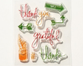 """Clear stamps /pattern """"Thank you""""/stamp/creative supply/scrapbooking"""
