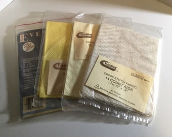 """Set of 4 Packages of 14 Count Cross Stitch Fabric Unopened New Old Stock in Size of 12"""" x 12"""" and 15"""" x 16"""""""