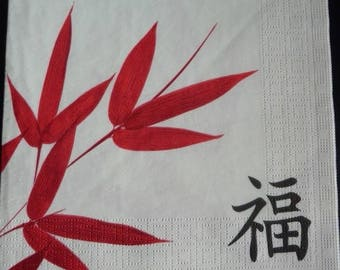 Red bamboo on white paper towel