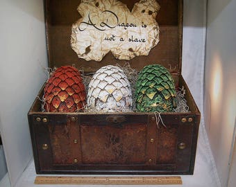 LIFE SIZE, Game Of Thrones Inspired, fantasy, Dragon Eggs With Chest, Khalessi, Mother of Dragons, gift, GOT, dragons, Hobbit, Pern