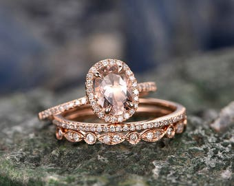 3pcs 6x8mm oval Morganite engagement ring set-Solid 14k Rose gold ring wedding set-Diamond anniversary ring-Rose gold Bridal Ring set-halo