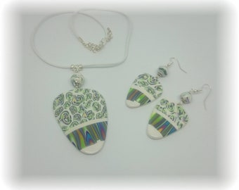 Spring spirit - Necklace - pendant and beads earrings - C17EP05