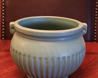 Vintage Blue Matte Finish Pottery Vase