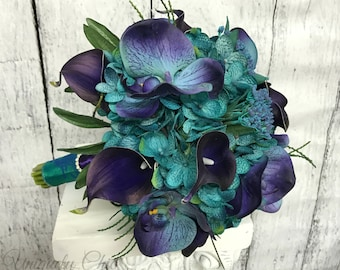 Teal wedding bouquet, Purple calla orchid bouquet,  Turquoise silk wedding flowers, Tropical brides bouquet, Teal purple wedding