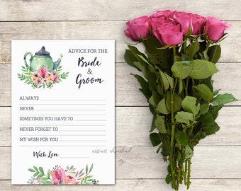 Advice for the Bride & Groom Card, Bridal Shower Tea, Tea Party, Floral Tea Party, Bridal Shower Game, Activity, Teapot, Printable No. 1018