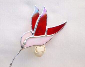 Stained Glass Humming Bird Night Light