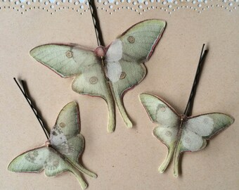 Handmade Luna Moth (Actias Luna) Hair Bobby Pins in Green Cotton and Silk Organza Fabric - 3 pieces