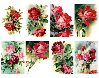 Flower Download  Vintage Red Roses Digital Download Set of 8 Graphics
