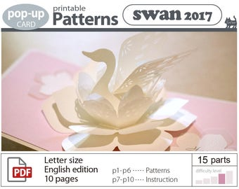 pop-up card _pattern__swan  (digital download file)