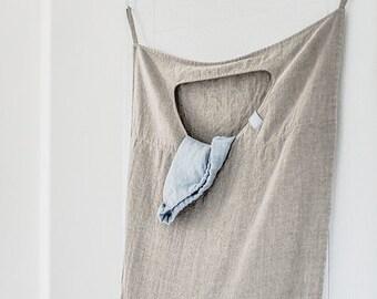 Natural hanging linen laundry bag