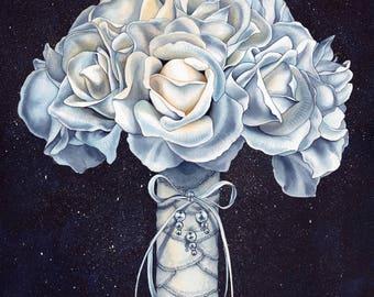 Original Wedding Bouquet Painting, customized + handmade from photo {wedding, anniversary gift}
