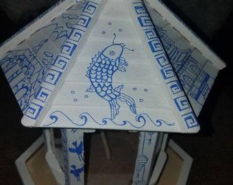 Asian, birdfeeder, lantern, candleholder, wood, oriental, birdhouse, bird feeder, bird house, wooden, home, decor