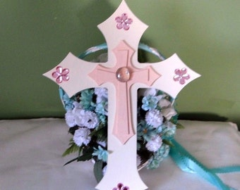 White and Peach Wooden wall cross, pink floral, hand crafted, Baltic Birch Wood, Christian decor, religious,  8 x 11 wall cross