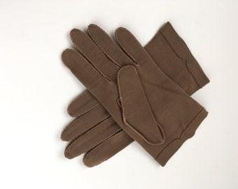 Vintage Brown Cotton Ladies Gloves Wrist Length Crescendoe size 7