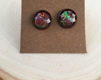 Fire Opal Studs