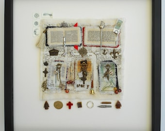 Collected Stories. Original art work. Framed, hand stitched, collaged textile.