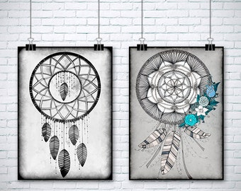 "2 Original Drawings - Dreamcatcher - 12x17"" Art Print, Wall Decor, Illustration, dreamcatchers"