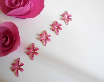 x 5 connectors flower effect glazed pink 12 mm
