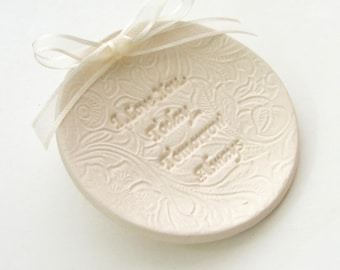 """Porcelain wedding ring dish, Ceramic wedding ring holder, Hand Built, """" I Love You, Today, Tomorrow, Always"""", Ready to Ship"""