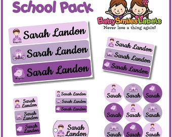 School Pack - Personalized Waterproof Labels Shoe Labels Clothing Tag Labels Bag Tags Daycare Labels Name Labels - Beauty Princess