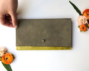 Leather iPhone Wallet - The Veda - Chartreuse & Grey Suede