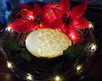 Carved Goose Egg: Poinsettia in Nest