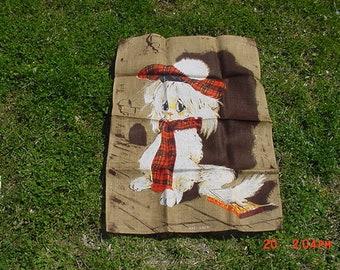 Vintage Irish Linen Dish Towel Sad Tale Cat Theme  18 - 932