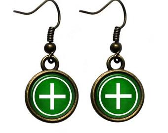 Celtic Cross - Ailm - White on Green Earrings