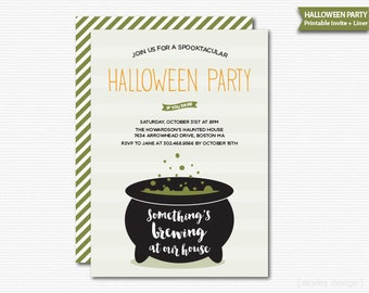 Something's Brewing Halloween Invitation Halloween Party Printable Cauldron Digital Invite Witches Brew Invitation Customized