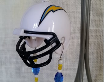Mini NFL Chargers helmet rear view mirror charm