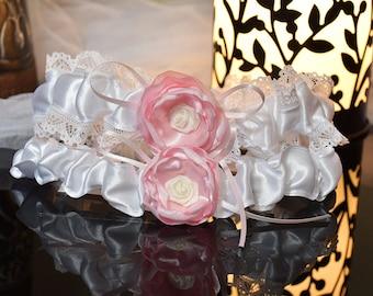 2 pcs (pair) White with Pink Flower Bridal Garter Wedding Leg Garter Legs Ring Wedding Accessories
