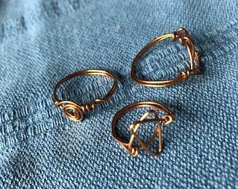 Mystic Wire Wrap Ring Trio