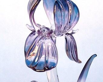 Iris Figurine of Hand Blown Glass Amethyst Crystal Gold