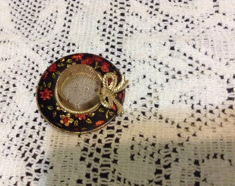 Gold Toned Red Floral Hat Brooch