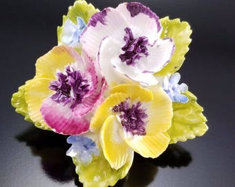 Vintage Bone China Flower Brooch Hand Painted Dorothy Ann English Estate Pin