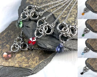 Brigid Necklace Surgical Stainless Steel with Genuine Swarovski Crystal Colors Custom Options Chainmaille Pendant