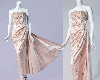 50s Alex Upper Montclair, NJ *OLD HOLLYWOOD* pale pink silk beaded strapless gown | Size Extra Small