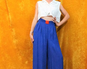 90's Vintage Blue Palazzo Pants/ High Waist Blue wide Leg Pants/ Vintage 1990's Blue & Red Palazzo Pants